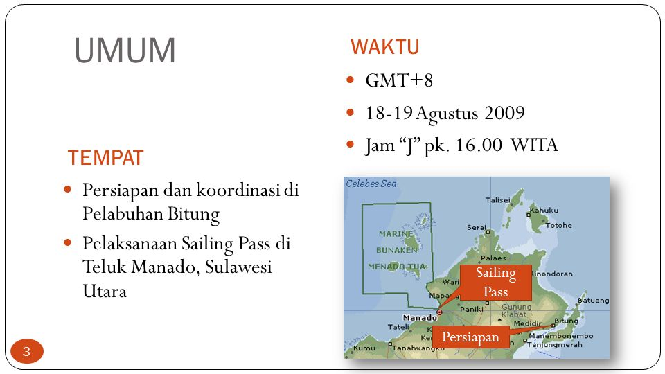 UMUM WAKTU GMT+8 18-19 Agustus 2009 Jam J pk. 16.00 WITA TEMPAT