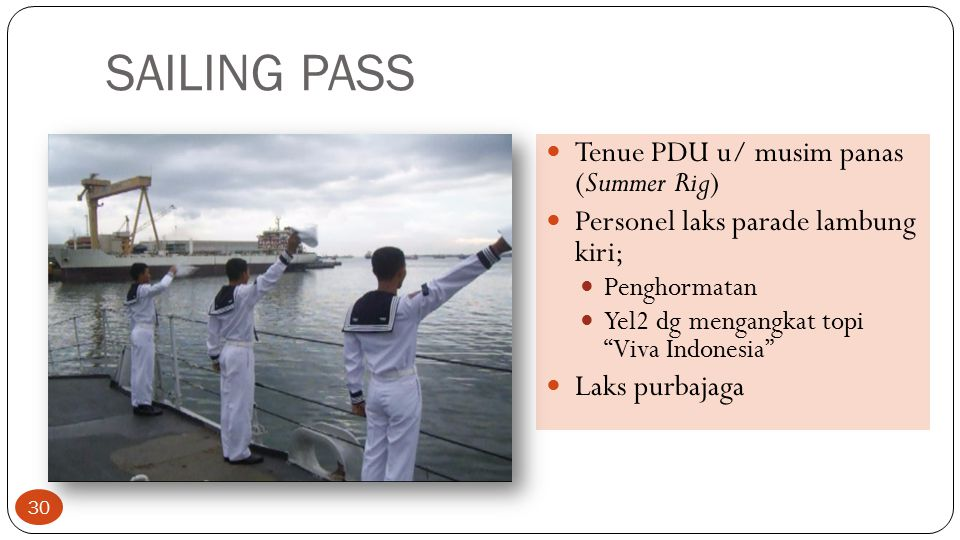 SAILING PASS Tenue PDU u/ musim panas (Summer Rig)