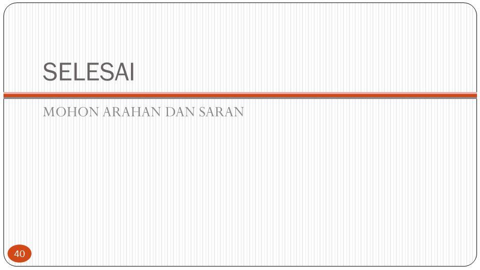 SELESAI MOHON ARAHAN DAN SARAN