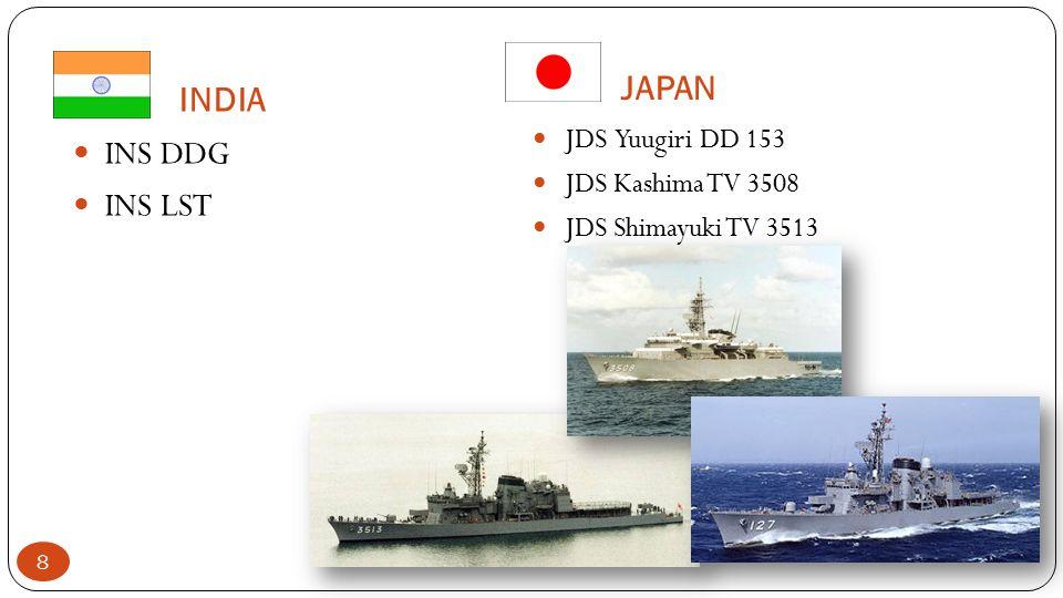 JAPAN INDIA INS DDG INS LST JDS Yuugiri DD 153 JDS Kashima TV 3508