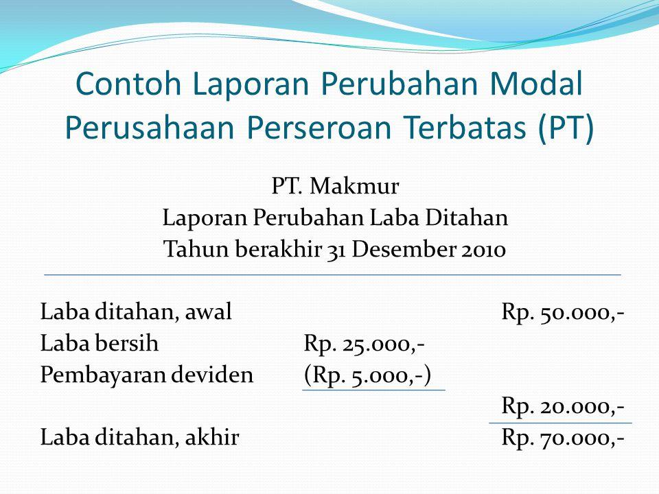 Contoh Laporan Perubahan Modal Perusahaan Perseroan Terbatas (PT)