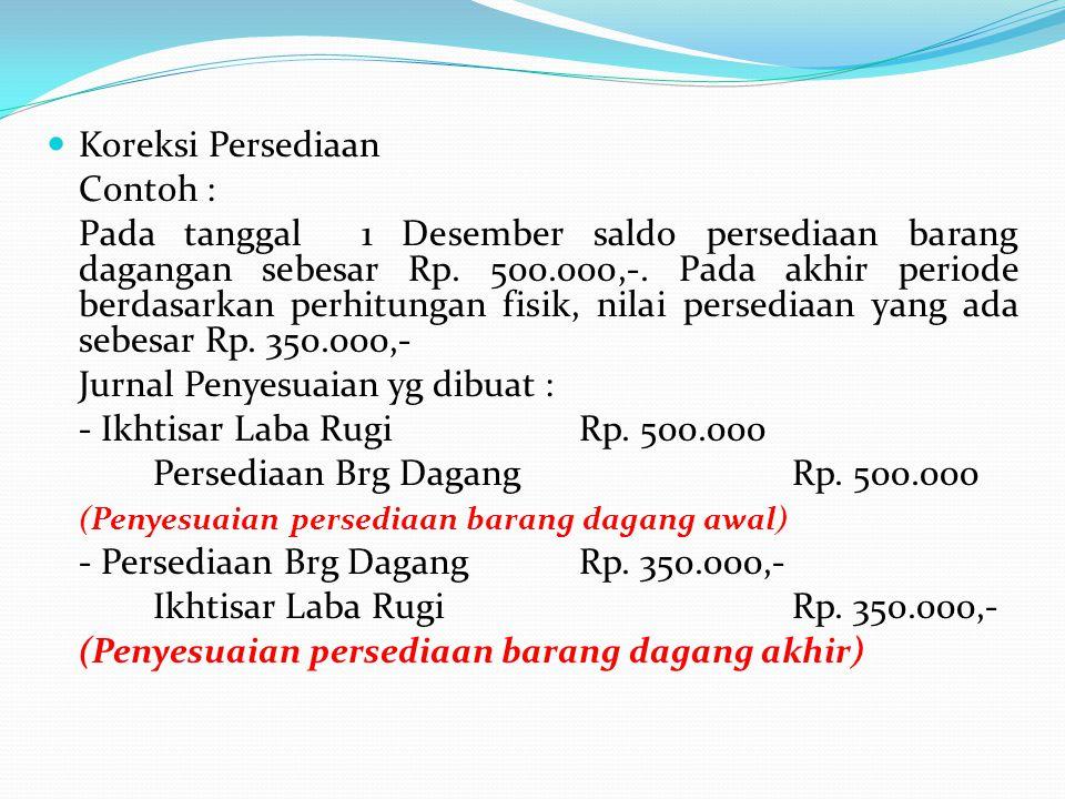 Koreksi Persediaan Contoh :