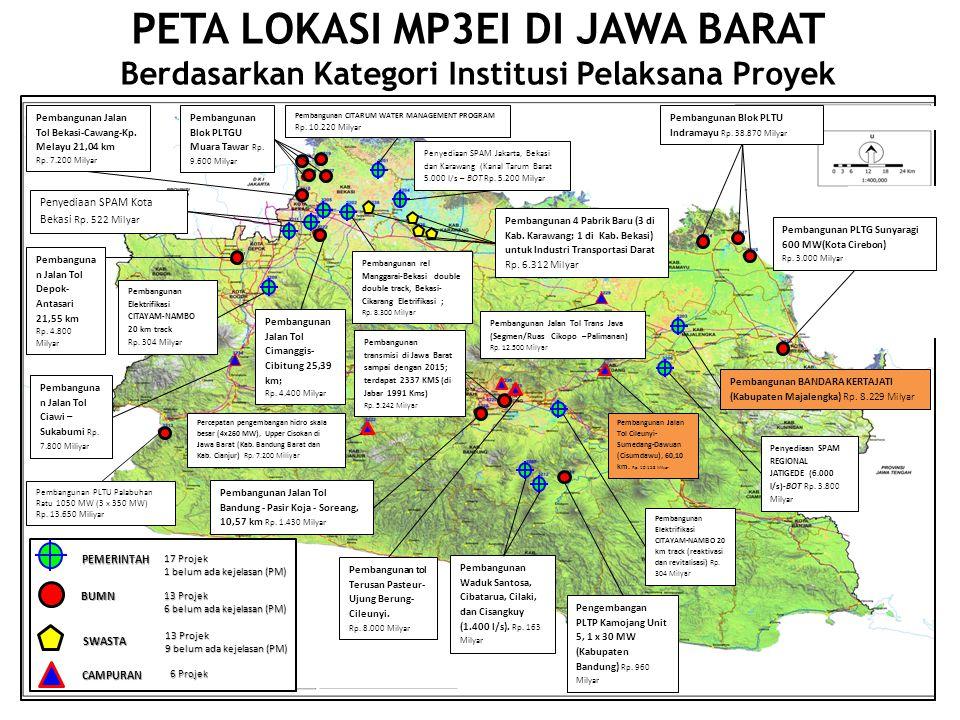 PETA LOKASI MP3EI DI JAWA BARAT Berdasarkan Kategori Institusi Pelaksana Proyek