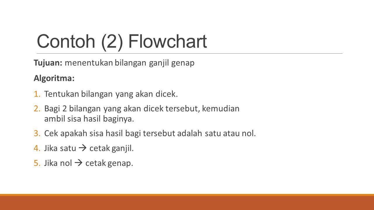 Contoh (2) Flowchart Tujuan: menentukan bilangan ganjil genap