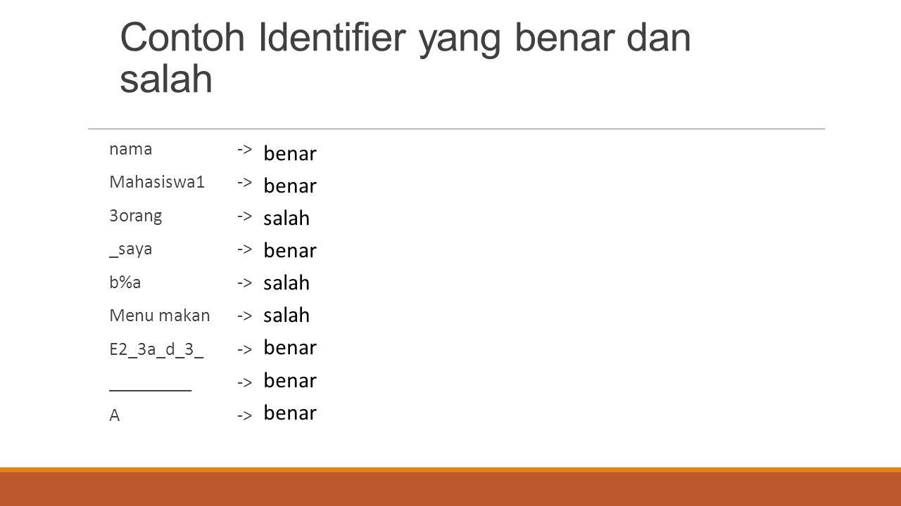 Contoh Identifier yang benar dan salah