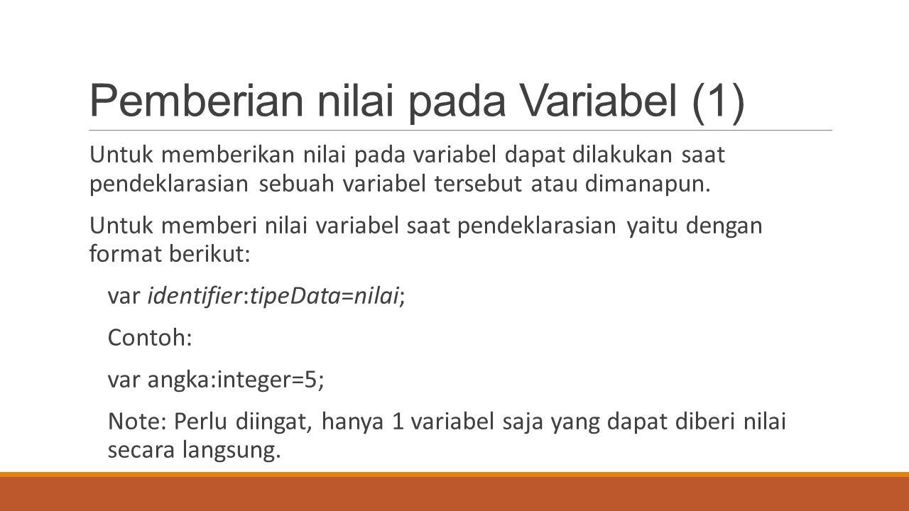Pemberian nilai pada Variabel (1)