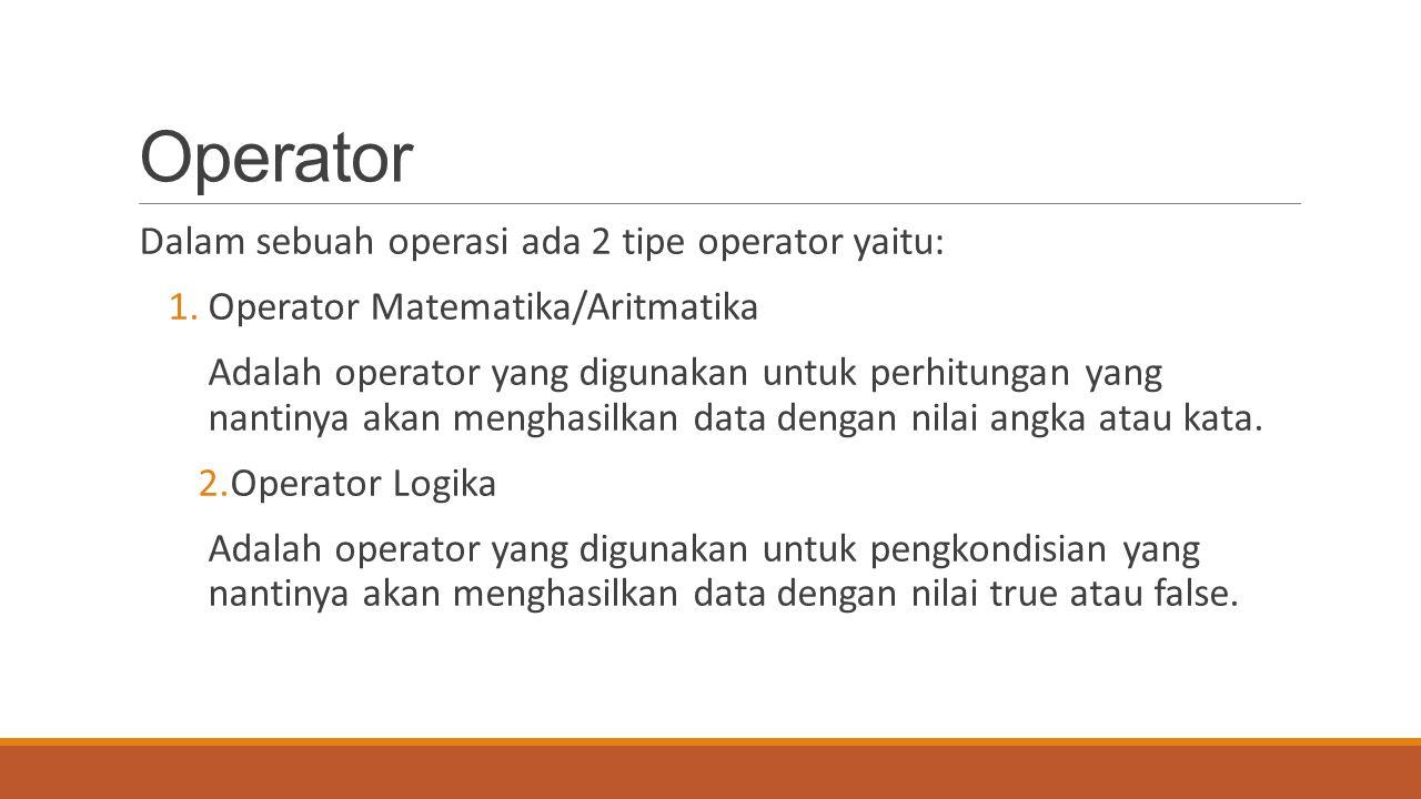 Operator Dalam sebuah operasi ada 2 tipe operator yaitu: