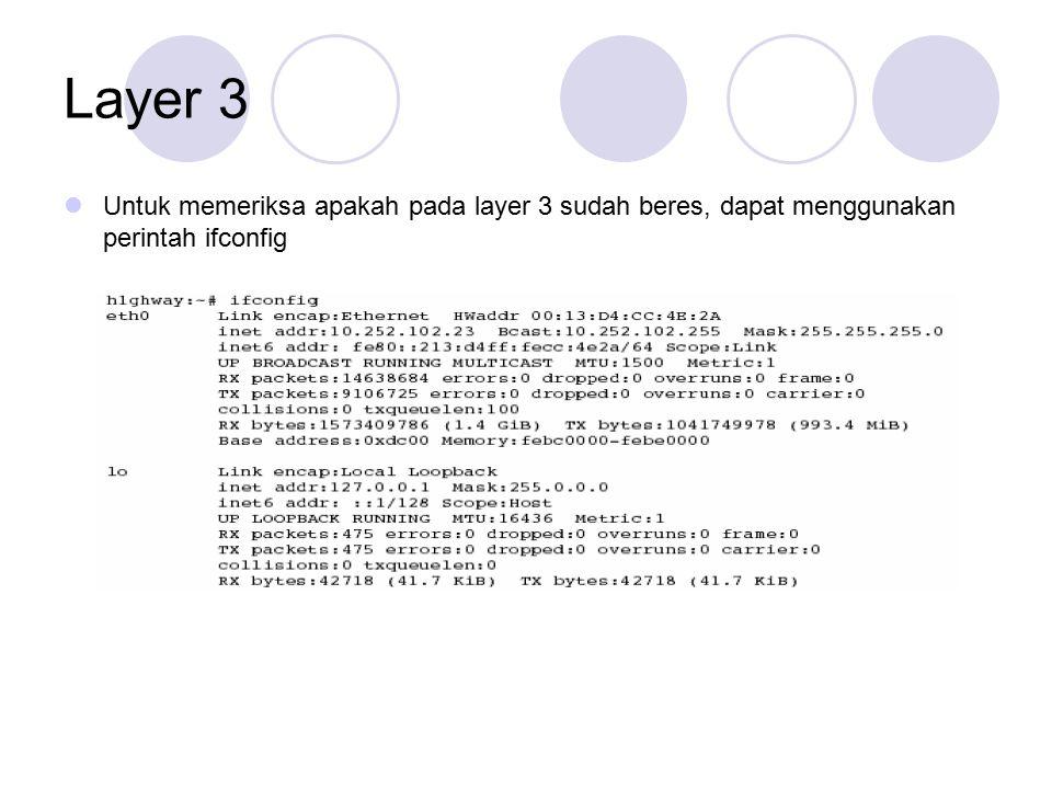 Layer 3 Untuk memeriksa apakah pada layer 3 sudah beres, dapat menggunakan perintah ifconfig