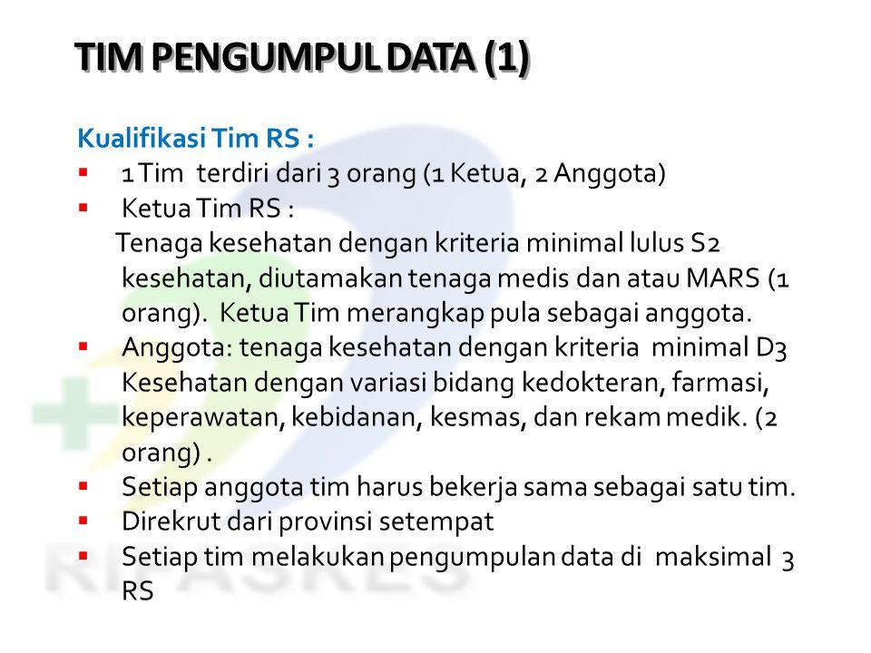 TIM PENGUMPUL DATA (1) Kualifikasi Tim RS :