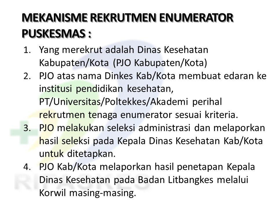 MEKANISME REKRUTMEN ENUMERATOR PUSKESMAS :
