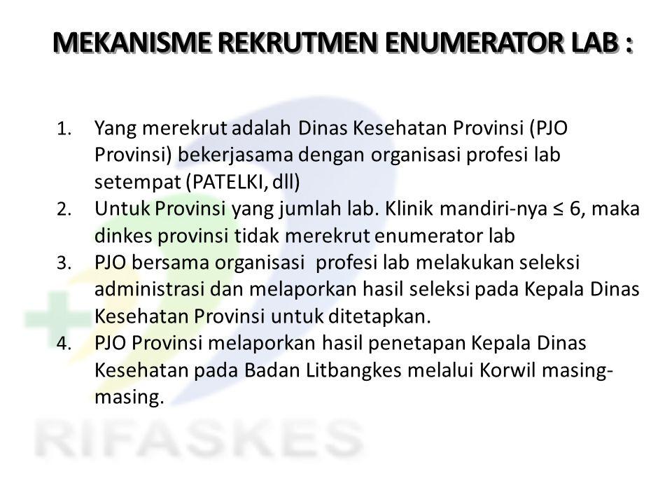 MEKANISME REKRUTMEN ENUMERATOR LAB :