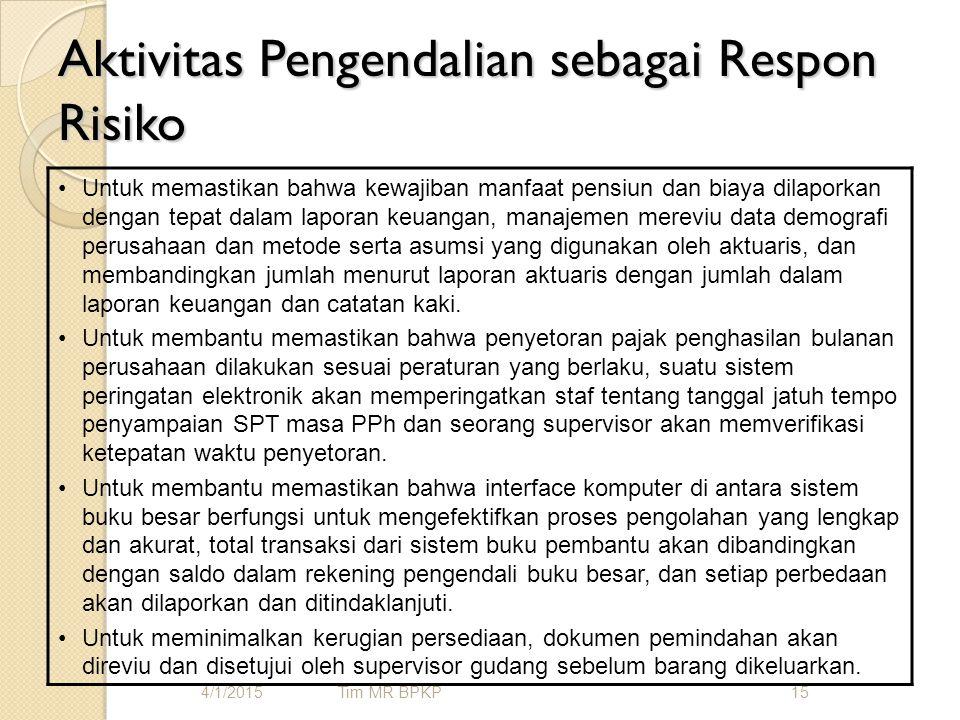 Aktivitas Pengendalian sebagai Respon Risiko