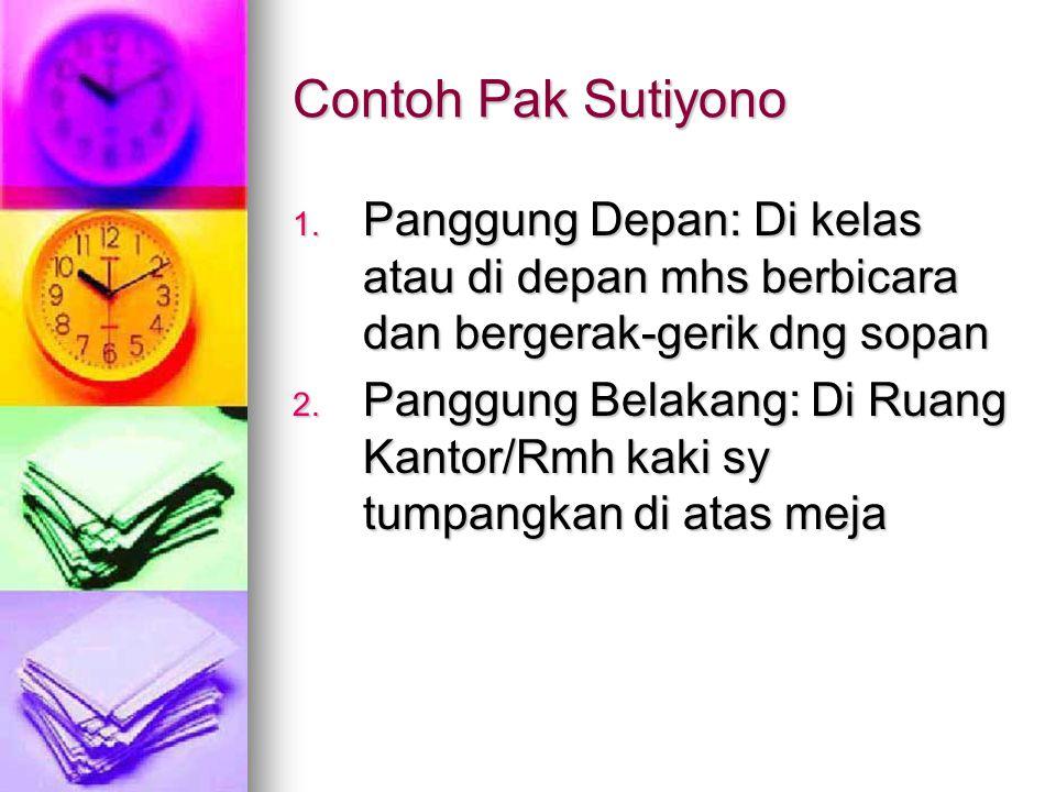 Contoh Pak Sutiyono Panggung Depan: Di kelas atau di depan mhs berbicara dan bergerak-gerik dng sopan.