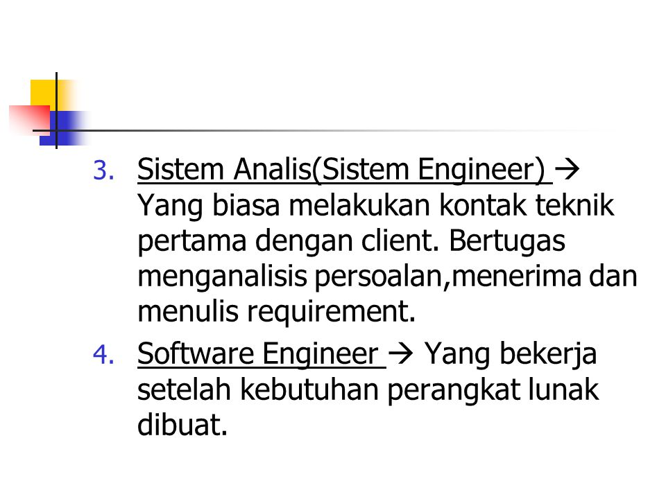 Sistem Analis(Sistem Engineer)  Yang biasa melakukan kontak teknik pertama dengan client. Bertugas menganalisis persoalan,menerima dan menulis requirement.