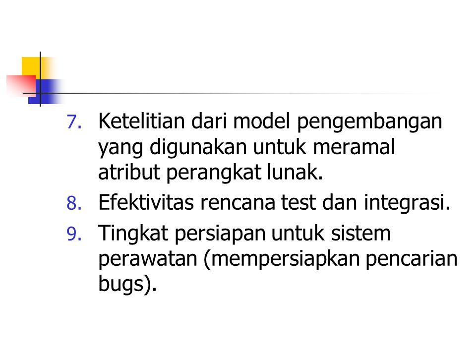 Ketelitian dari model pengembangan yang digunakan untuk meramal atribut perangkat lunak.