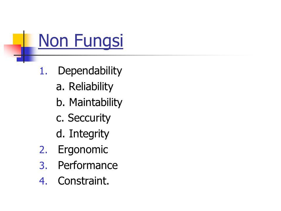 Non Fungsi Dependability a. Reliability b. Maintability c. Seccurity