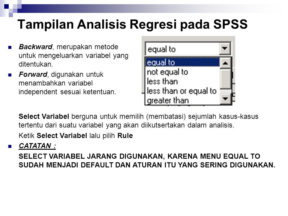 Tampilan Analisis Regresi pada SPSS