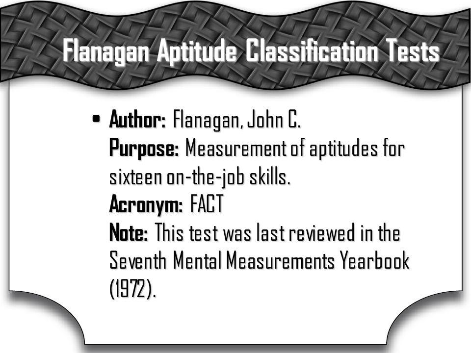Flanagan Aptitude Classification Tests