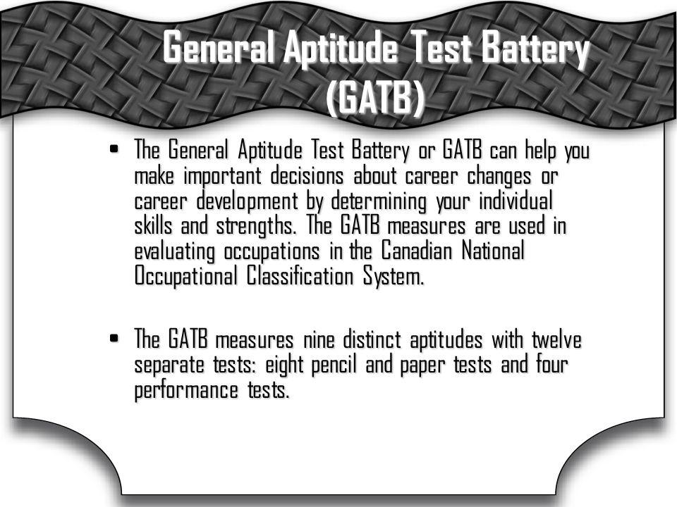General Aptitude Test Battery (GATB)