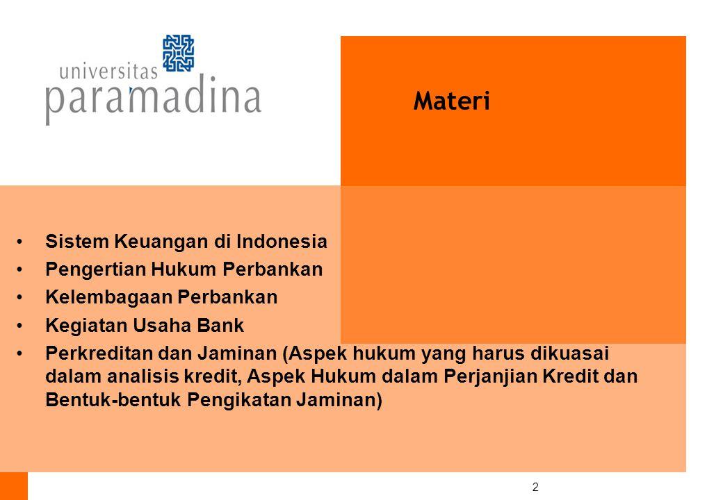 Materi Sistem Keuangan di Indonesia Pengertian Hukum Perbankan