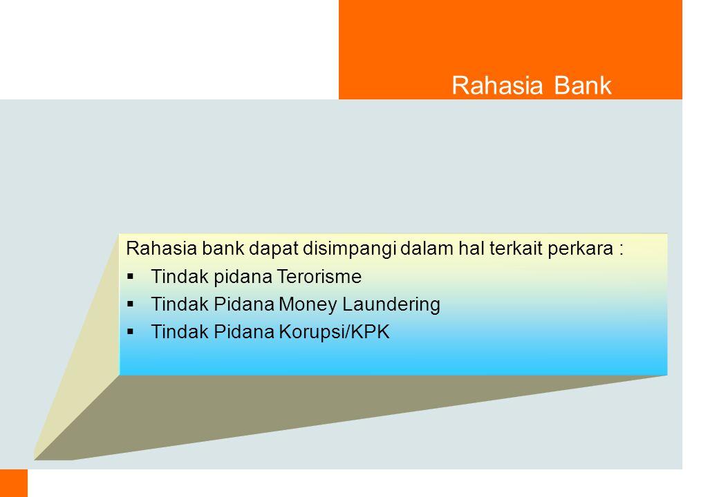Rahasia Bank Rahasia bank dapat disimpangi dalam hal terkait perkara :