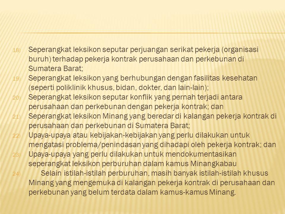 Seperangkat leksikon seputar perjuangan serikat pekerja (organisasi buruh) terhadap pekerja kontrak perusahaan dan perkebunan di Sumatera Barat;