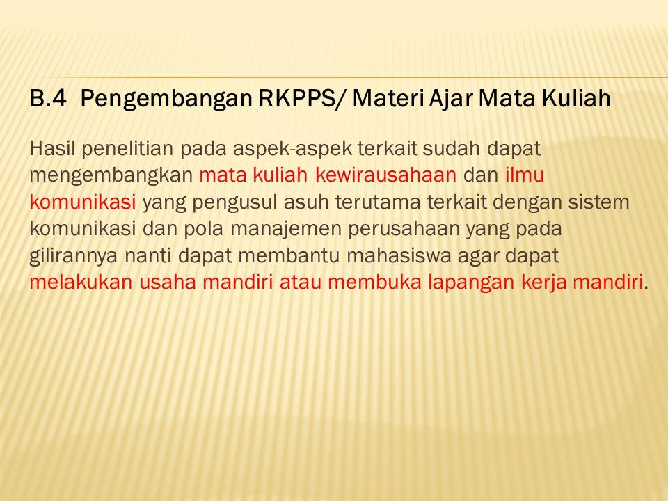 B.4 Pengembangan RKPPS/ Materi Ajar Mata Kuliah