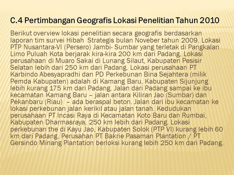 C.4 Pertimbangan Geografis Lokasi Penelitian Tahun 2010
