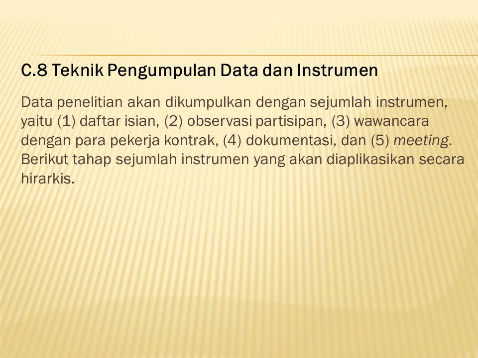C.8 Teknik Pengumpulan Data dan Instrumen