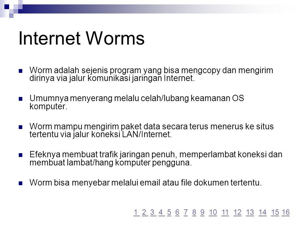 Internet Worms Worm adalah sejenis program yang bisa mengcopy dan mengirim dirinya via jalur komunikasi jaringan Internet.