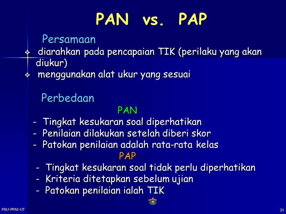 PAN vs. PAP Persamaan. diarahkan pada pencapaian TIK (perilaku yang akan. diukur) menggunakan alat ukur yang sesuai.