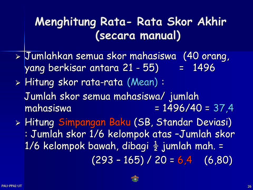 Menghitung Rata- Rata Skor Akhir (secara manual)