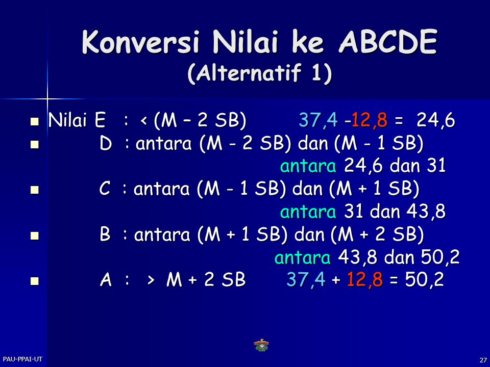 Konversi Nilai ke ABCDE (Alternatif 1)