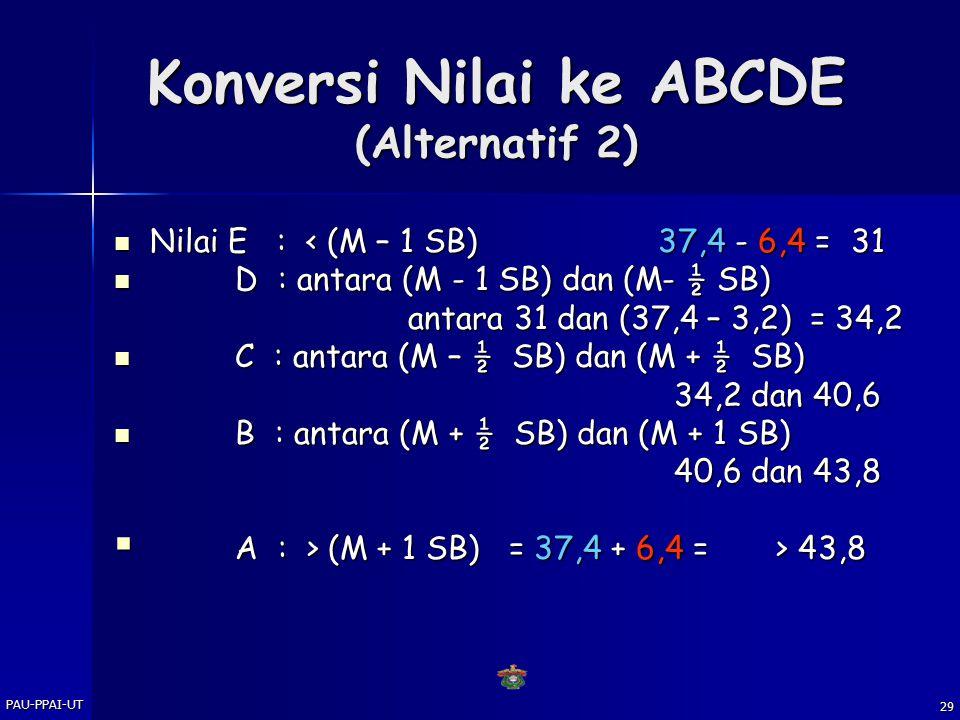 Konversi Nilai ke ABCDE (Alternatif 2)