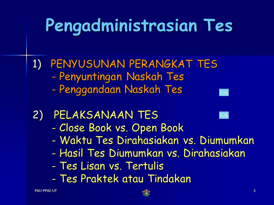 Pengadministrasian Tes