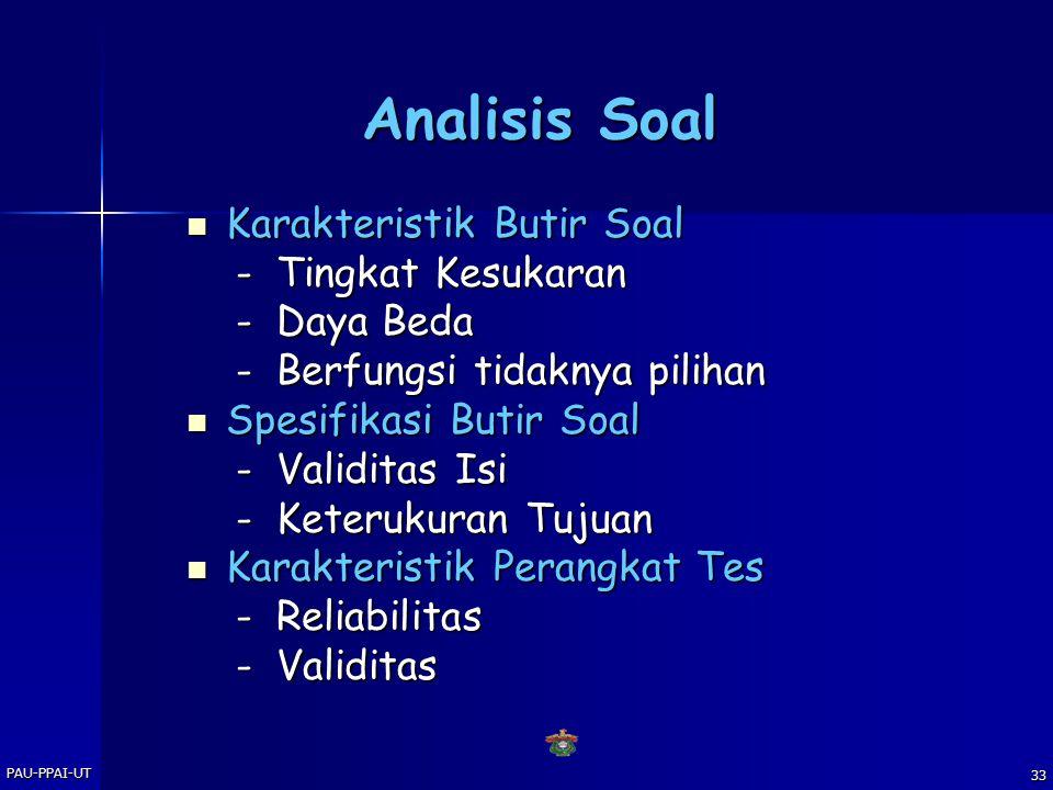 Analisis Soal Karakteristik Butir Soal - Tingkat Kesukaran - Daya Beda