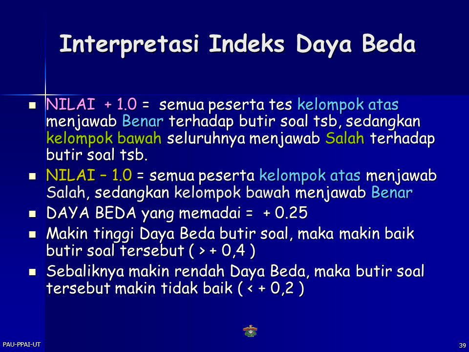 Interpretasi Indeks Daya Beda