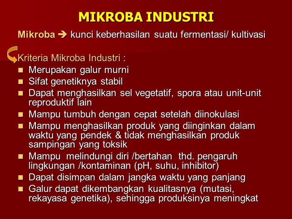 MIKROBA INDUSTRI Mikroba  kunci keberhasilan suatu fermentasi/ kultivasi. Kriteria Mikroba Industri :