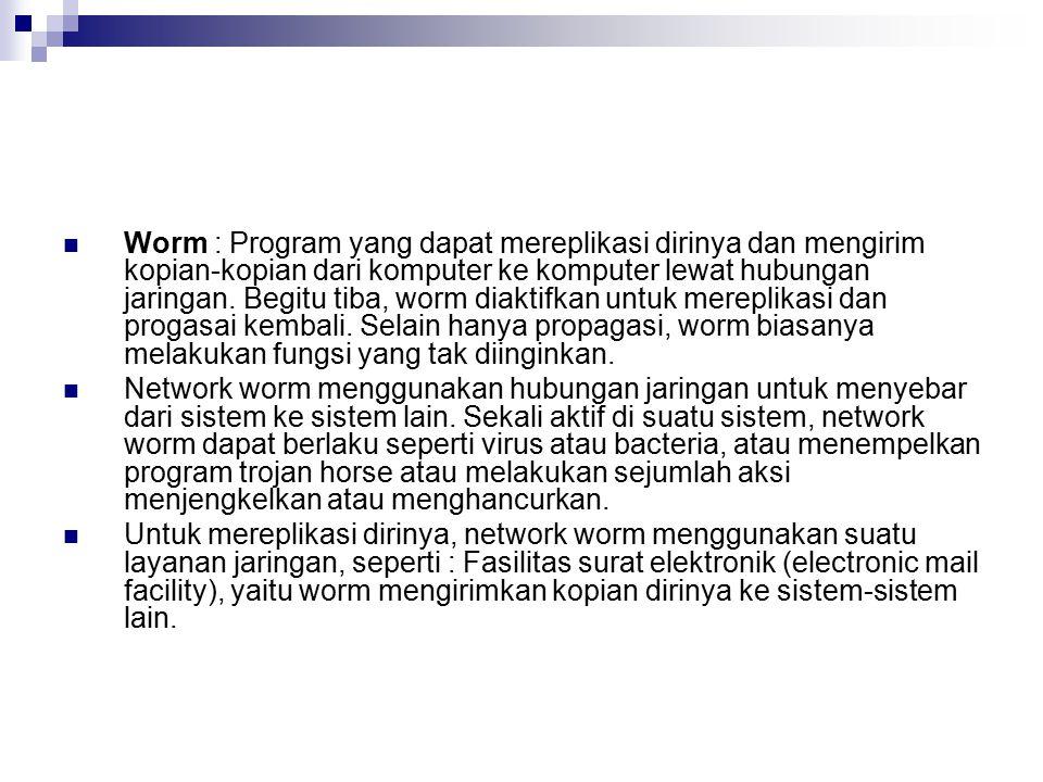 Worm : Program yang dapat mereplikasi dirinya dan mengirim kopian-kopian dari komputer ke komputer lewat hubungan jaringan. Begitu tiba, worm diaktifkan untuk mereplikasi dan progasai kembali. Selain hanya propagasi, worm biasanya melakukan fungsi yang tak diinginkan.