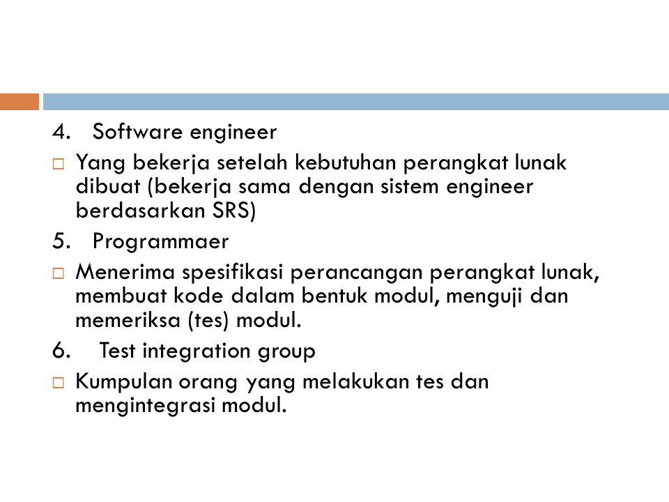 4. Software engineer Yang bekerja setelah kebutuhan perangkat lunak dibuat (bekerja sama dengan sistem engineer berdasarkan SRS)