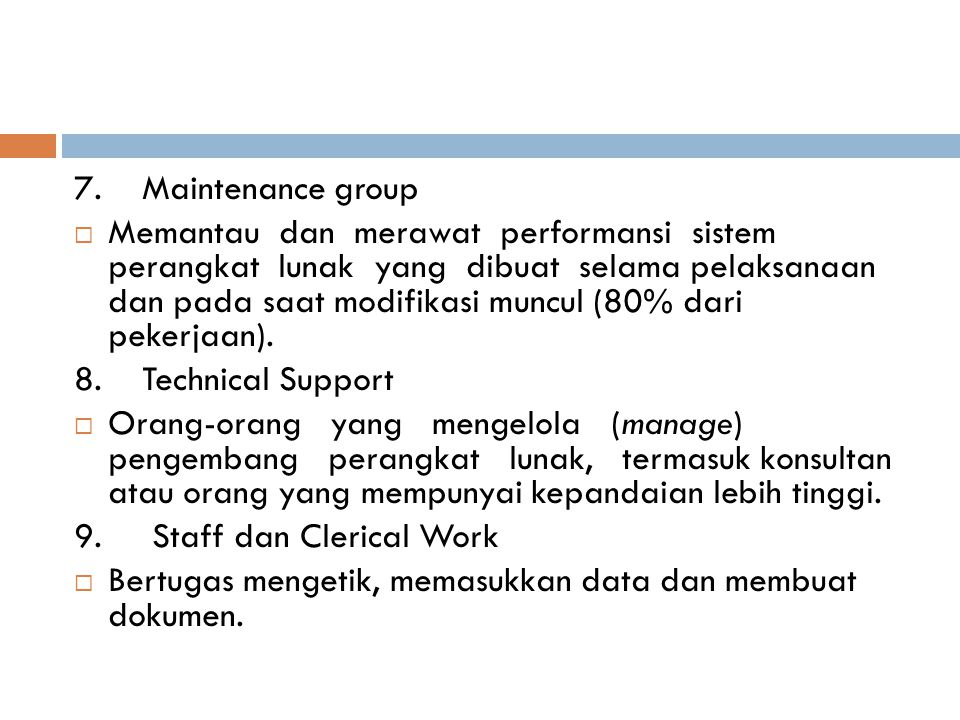 7. Maintenance group