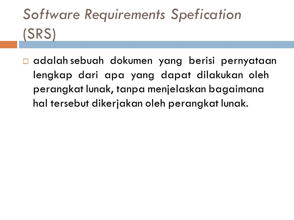 Software Requirements Spefication (SRS)