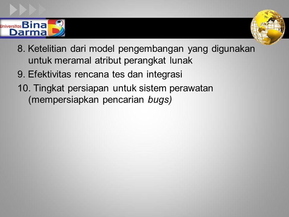 8. Ketelitian dari model pengembangan yang digunakan untuk meramal atribut perangkat lunak 9.