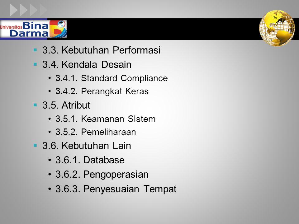 3.3. Kebutuhan Performasi 3.4. Kendala Desain 3.5. Atribut