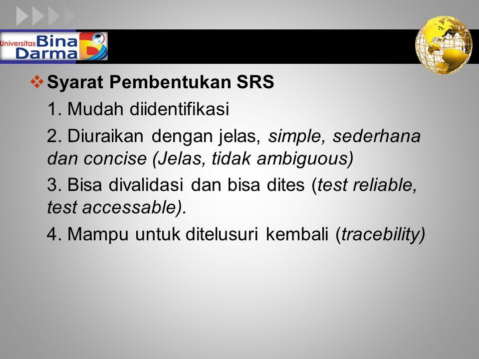 Syarat Pembentukan SRS
