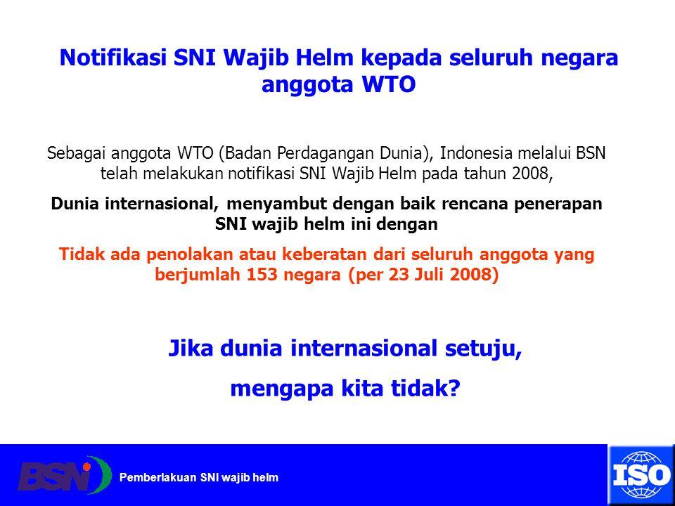 Notifikasi SNI Wajib Helm kepada seluruh negara anggota WTO