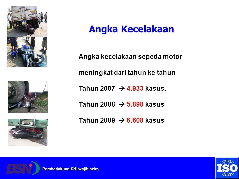 Angka Kecelakaan Angka kecelakaan sepeda motor meningkat dari tahun ke tahun. Tahun 2007  4.933 kasus,