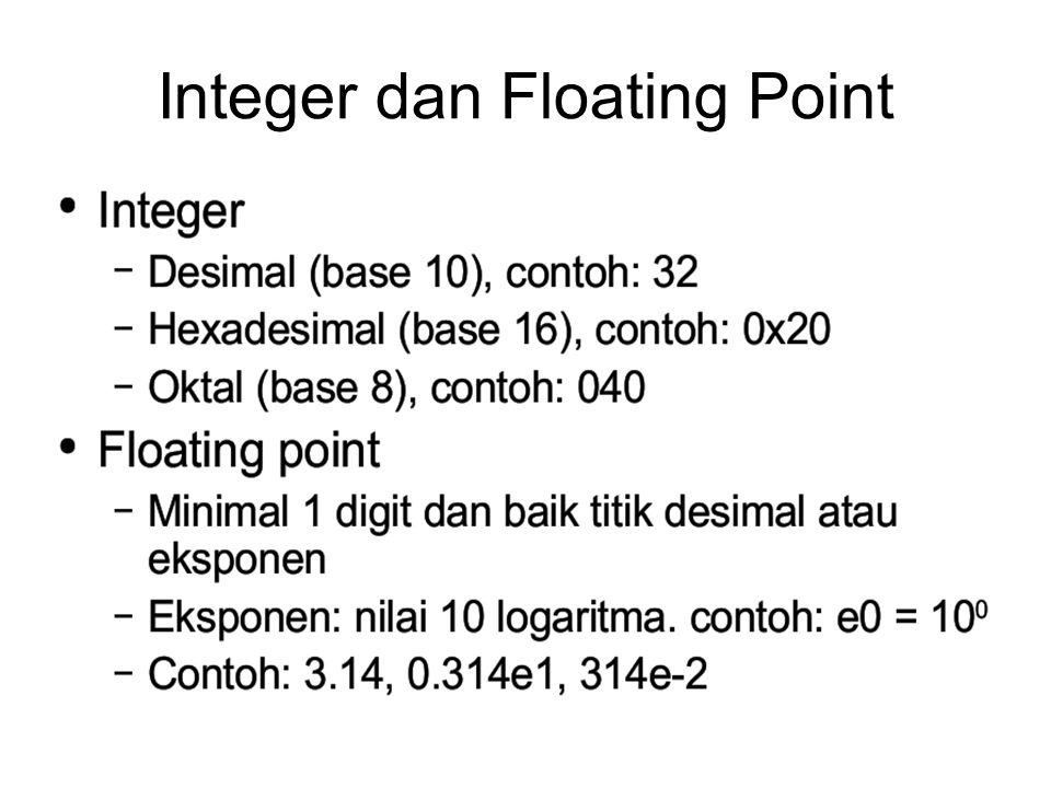 Integer dan Floating Point