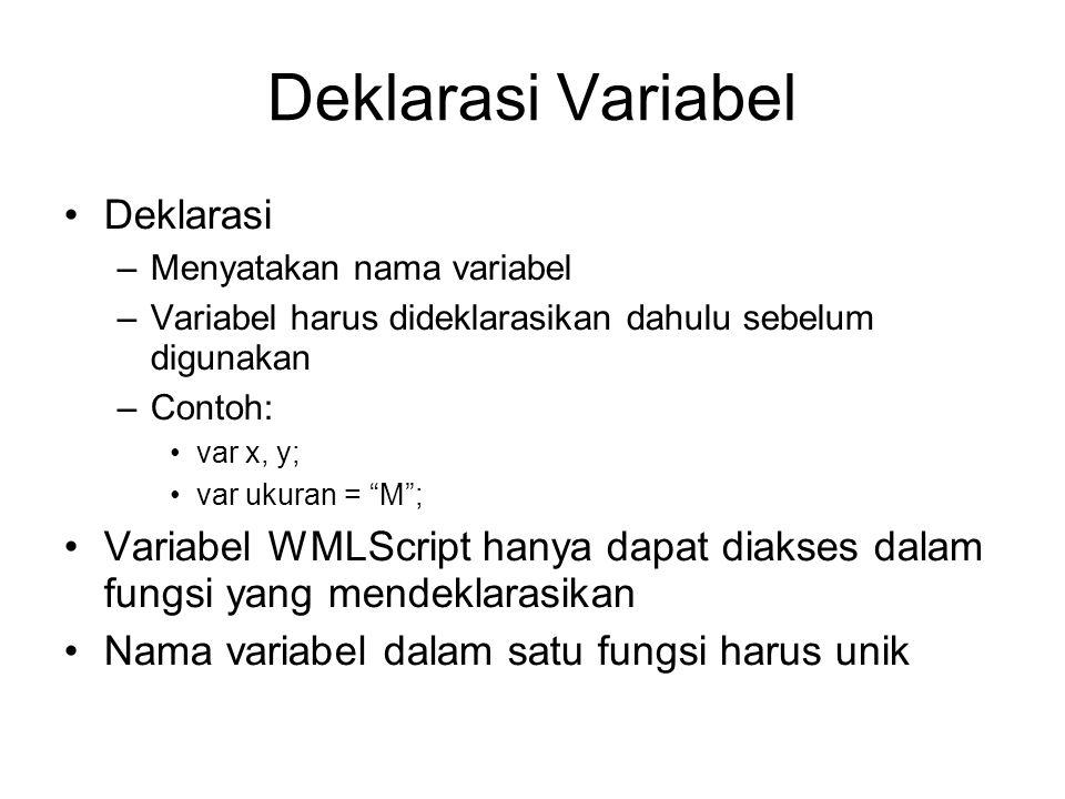 Deklarasi Variabel Deklarasi