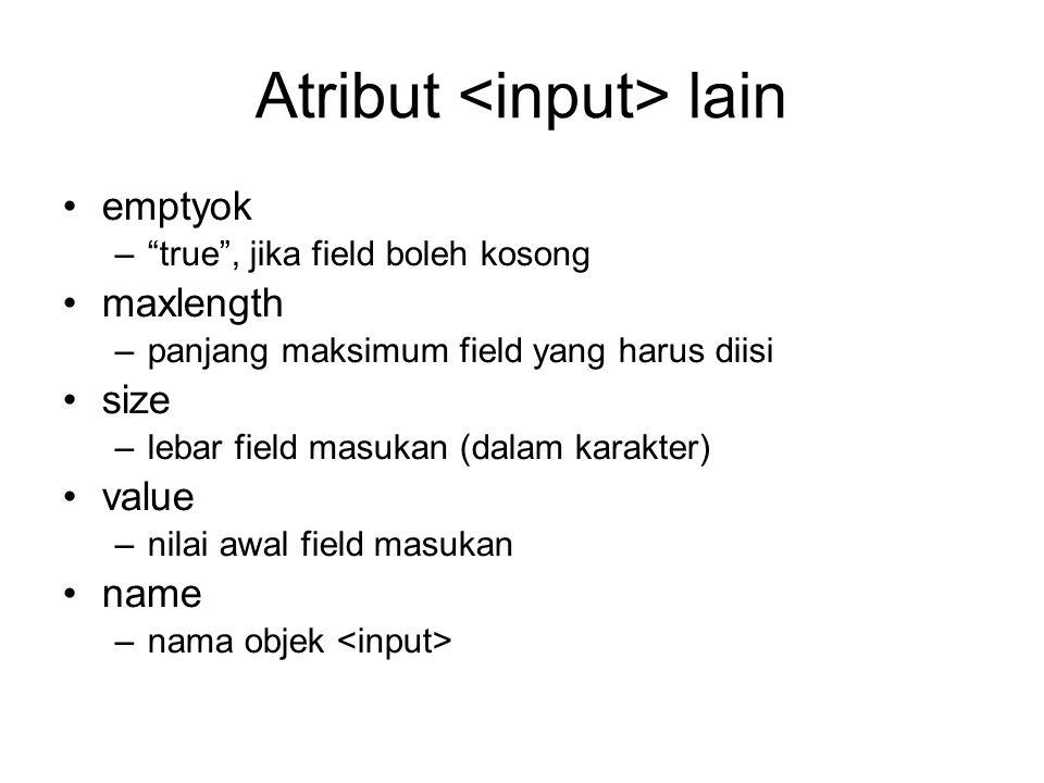 Atribut <input> lain